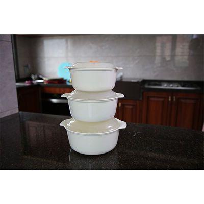 微波炉专用碗加热饭盒保鲜盒塑料三件套圆形带盖便当盒泡面碗套装