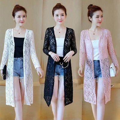夏季薄中年女装大码长袖蕾丝衫中长款防晒衣女蕾丝披肩外套空调衫