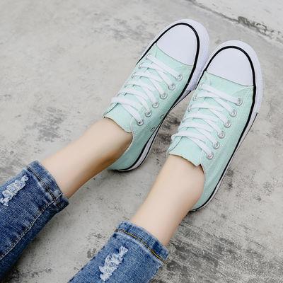 夏季新款低帮帆布鞋女平跟底学生系带休闲鞋粉色黑色布鞋球鞋板鞋