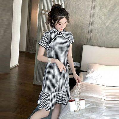 中国风旗袍女改良2020夏新款学生小个子性感格子连衣裙遮肚鱼尾裙