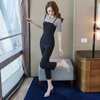 女装2020新款套装女夏两件套微透上衣短袖百搭吊带小直筒九分裤子