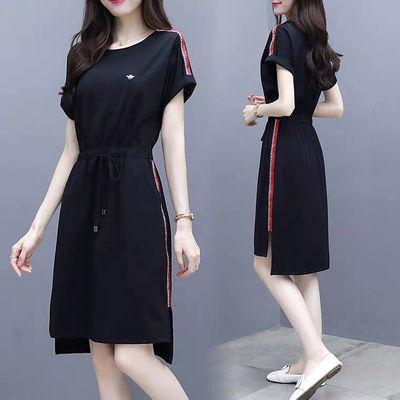 含棉休闲连衣裙2020新款女装夏季显瘦黑色宽松收腰ins裙子中长款