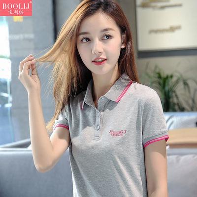 优质纯棉定制休闲运动上衣纯色短袖女t恤夏装大码宽松显瘦翻领衫