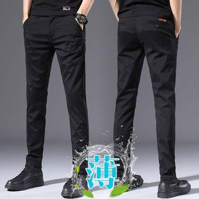 春夏季男装商务休闲裤男修身小脚西裤韩版潮流百搭薄款冰丝长裤子