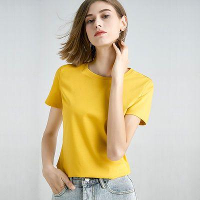 修娴亲肤90支丝光棉T恤女短袖2020夏装新款高品质纯棉简约上衣潮