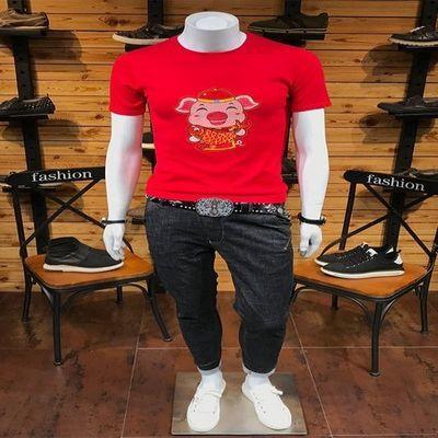 本命年红色小猪刺绣针织衫短袖毛衣春夏男士圆领半截袖韩版毛线衣