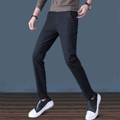 春夏男士休闲裤宽松韩版潮流修身小脚裤黑色学生裤子薄款直筒西裤