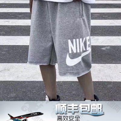 【纯棉】nk撕边短裤男宽松学生篮球休闲裤经典抽绳五分运动裤
