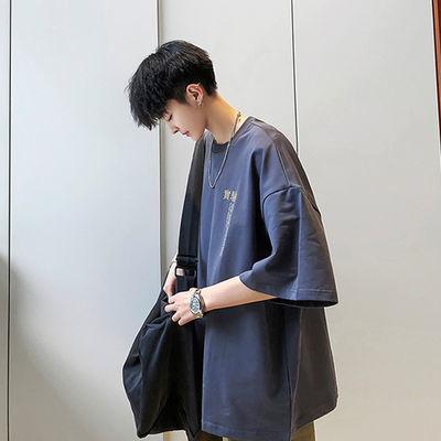 夏季新款五分袖男士t恤ins潮流韩版宽松短袖T恤衫半袖港风tee体恤