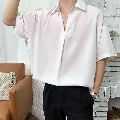 心机衬衫七分袖设计感男痞帅韩风ins潮男网红帅气学生很仙的衬衣