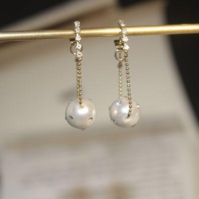 新款s925银针两戴款珍珠锆石个性潮流耳环女 时尚气质耳钉女