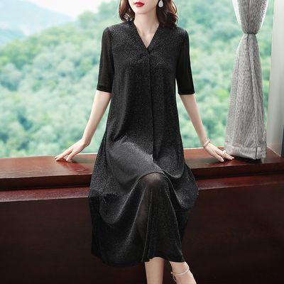 2020夏季新款大码女装韩版弹力中长款打底裙宽松遮肚显瘦连衣裙女