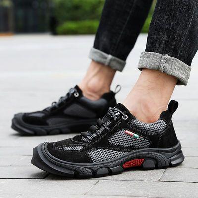 2020男鞋新款百搭户外休闲鞋子网布透气运动登山鞋轻便徒步鞋