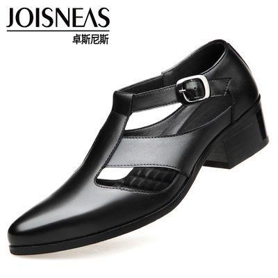 皮凉鞋男真皮尖头商务皮鞋男士镂空洞洞鞋正装男鞋夏季透气凉拖鞋