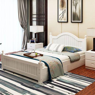实木床1.8米双人床松木成人床1.5米欧式床1.2单人床现代简约大床