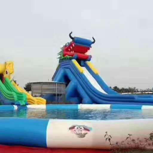 充气龙头滑滑梯水上乐园游泳池闯关城堡跳床蹦蹦云网红桥气模