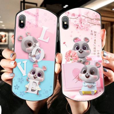 苹果11手机壳新款小鼠xr椭圆形8plus男女6s玻璃潮苹果7防摔游戏壳