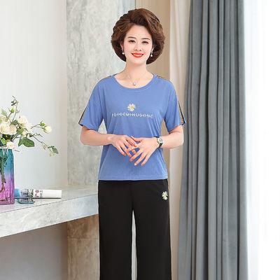 两件套2020夏装新款短袖T恤衫小菊花休闲套装年轻妈妈装阔腿裤女