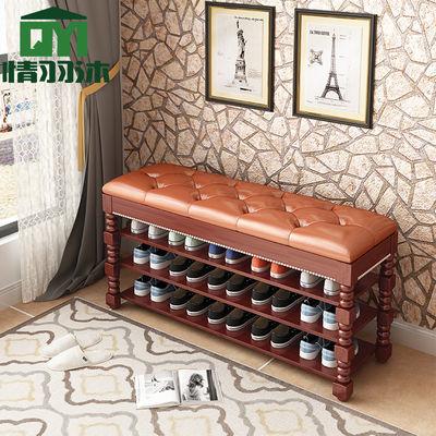 实木鞋架换鞋凳鞋柜简易多层门口家用收纳防尘可坐多功能放鞋神器