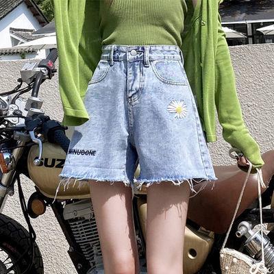 新款翻边牛仔短裤女夏季高腰a字宽松显瘦韩版学生小雏菊阔腿热裤