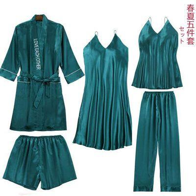 睡衣女五件套春夏冰丝绸性感吊带短裤睡裙长袖睡袍外穿二三四件套