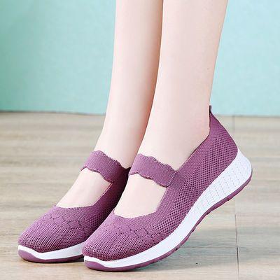 新款老北京布鞋女透气网面飞织鞋浅口妈妈鞋防滑平底中老年健步鞋