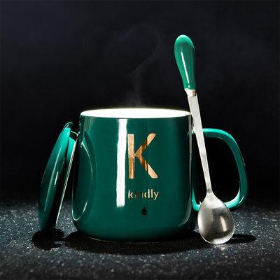 创意个性陶瓷杯马克杯带盖勺男女家用水杯早餐杯情侣杯简约咖啡杯