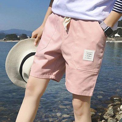 港风休闲短裤男士五分裤夏季沙滩裤中裤纯色棉马裤青年大裤衩宽松