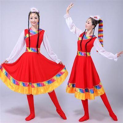 新款女装少数民族服装秧歌广场舞西藏水袖舞台装演出藏族舞蹈服饰