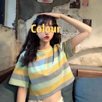 泫雅风短款彩虹条纹高腰露脐上衣心机设计感宽松短袖t恤女2020夏