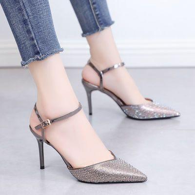 包头凉鞋女2020夏季新款法式少女仙女风尖头水钻一字扣高跟鞋细跟