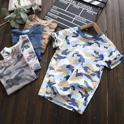 男童短袖T恤潮流休闲迷彩中大童纯棉童装儿童夏天体恤衫2020新品