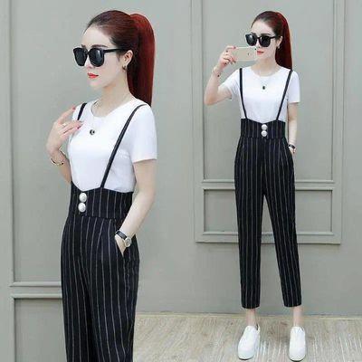 单/小个子气质套装裤女夏2020新款吊带背带裤女高腰九分裤两件套