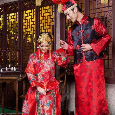 中式婚礼新娘婚服秀禾服敬酒服古典婚服凤冠霞帔新娘装民族服饰女