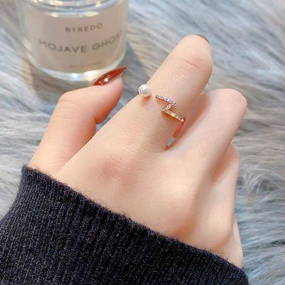 小众设计珍珠戒指女ins潮网红冷淡风开口可调节时尚个性日系轻奢