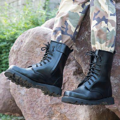 正品军靴男特种兵高帮陆战靴战术靴钢头钢底户外保安防爆靴作战靴