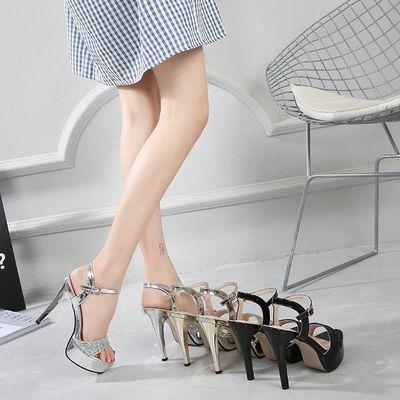 亮片凉鞋女夏2020新款防水台细跟时尚露趾性感一字扣11cm超高跟鞋