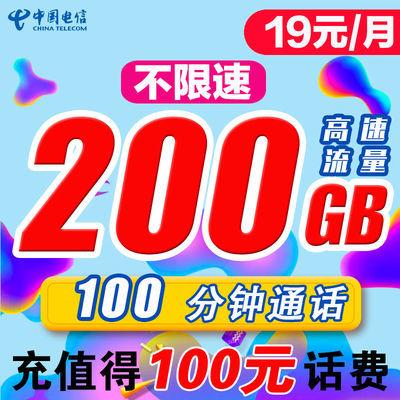 流量卡无限流量卡不限速手机卡电信纯上网卡电话卡大王卡免费花卡
