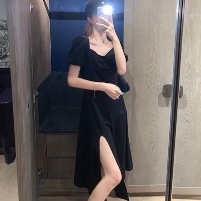 大码女装2020夏新款遮肚子显瘦T恤裙胖mm韩版开叉性感连衣裙200斤
