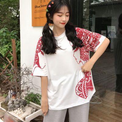 剪纸五分袖短袖t恤女ins体恤男女夏韩版圆领学生宽松衣服睡衣上装