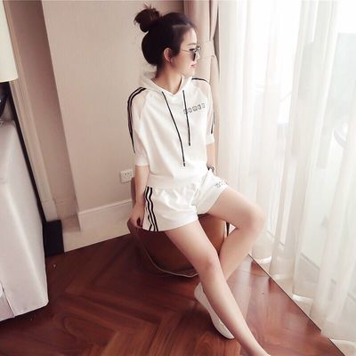 2020女夏短裤学生韩版时尚休闲7分袖短袖连帽卫衣两件套宽松跑步