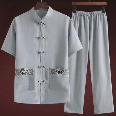 唐服老人夏季棉麻套装男60-70岁半袖夏装绵绸父亲节中老年长袖爷