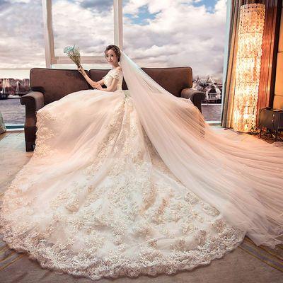 婚纱礼服2020新款新娘一字肩显瘦简约长拖尾赫本星空森系