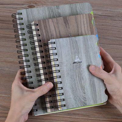 【加厚290页】特厚卡纸线圈记事本彩色标签分类笔记本工作记录本