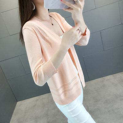 夏季新款冰丝针织衫女开衫外搭韩版短款薄款外套披肩空调衫防晒衣