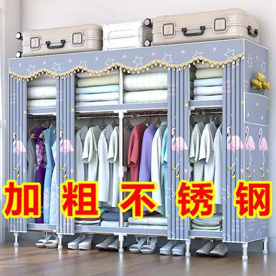 布衣柜简易衣柜钢管加粗加固加厚单双人拼装衣橱衣柜收纳架挂衣柜