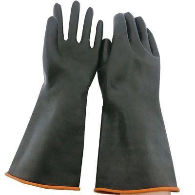 超长加厚大码橡胶耐酸碱乳胶耐磨化工业防水男士双层黑色手套