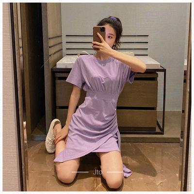 韩版修身收腰显瘦紫色连衣裙女夏季新款不规则针织小个子T恤裙潮