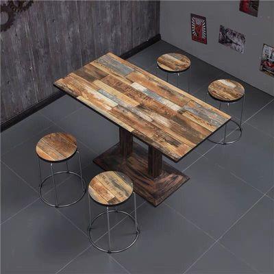 复古简易小吃店快餐桌椅组合奶茶店经济型桌子饭店食堂快餐厅桌椅