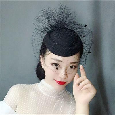 欧美新娘头饰复古面纱饰品网纱羽毛花朵小礼帽发夹发饰贝雷帽发箍